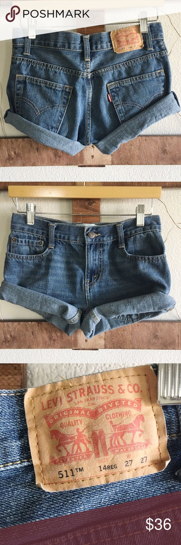 "511 Levi Jean Shorts🌵 511 Levi Jean Shorts🌱 medium wash; size 4 28"" waist, 32"" hips, 9"" length, 9.5"" rise, hand cutt not darted so you can adjust the cuff yourself✂️ Levi's Shorts Jean Shorts"