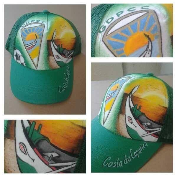 Boné desenhado e pintado com Uni Posca #gdpcc #costadacaparica #futebol