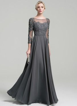 A-Line/Princess Scoop Neck Floor-Length Chiffon Mother of the Bride Dress With Beading Sequins (008091949)