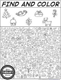 Find and color christmas doodle freebie from Your Therapy Source to practice visual perceptual skills at Christmas time!