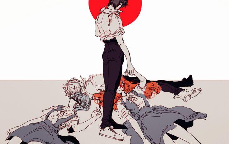 Shinji, Rei, Kaworu, and Asuka ||| Neon Genesis Evangelion Fan Art by 3eden on Tumblr