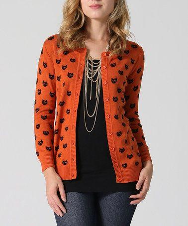 Look at this #zulilyfind! Orange & Black Cat Cardigan Sweater #zulilyfinds