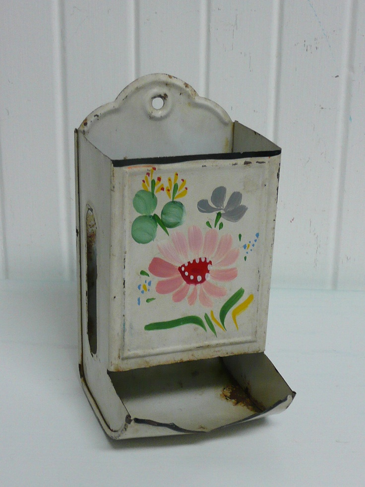 Vintage Tin Metal Match Box Holder, Shabby Chic Lovely Ransburg with Pink Flower Design - Vintage Travel Trailer and Home Decor. $30.00, via Etsy.