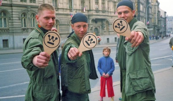 """""""American Day"""" in Plzen, Czechoslovakia, May 4, 1991. Celebrating the 46th anniversary of General George Patton's liberation of the city.  Czechs playing with Westinghouse toys. #plzen #pilsen #westinghouse"""