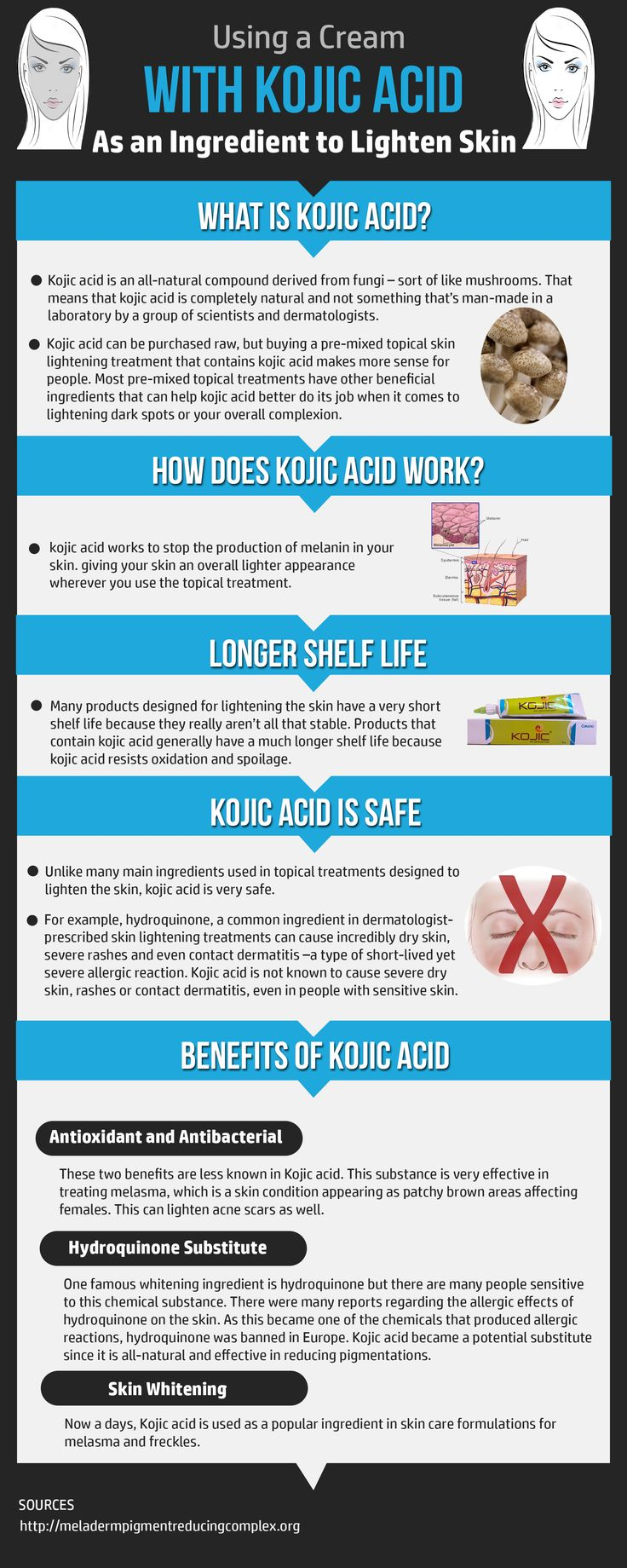 Kojic Acid has been used for years to lighten skin. It is a safe and effective natural ingredient for use in hyperpigmentation of any sort. Whether you have melasma, age spots, acne scarring or freckles you want to fade this works well. No side effects just an even skin tone is what you will get. #infographic Discover the best kojic acid cream here http://hyperpigmentationhelp.com