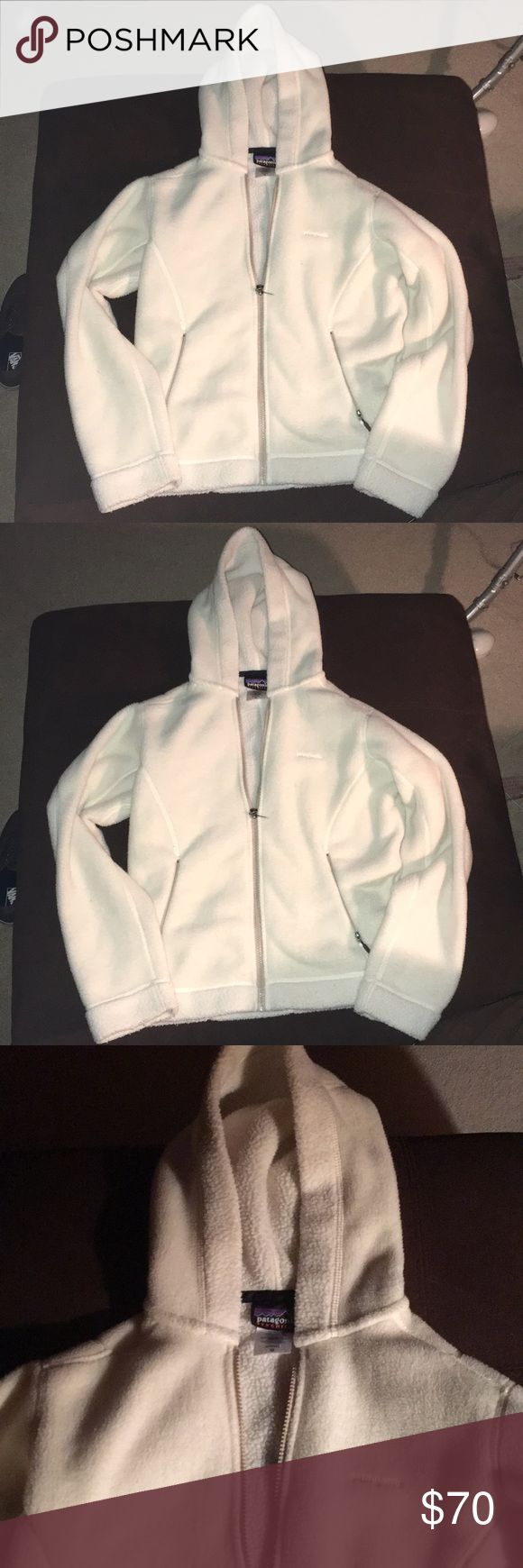 Patagonia! Cream zip up fleece hoodie! Size medium Great condition. So warm and soft! Zip pockets. Check out my other listings! Bundle and save:) Patagonia Jackets & Coats