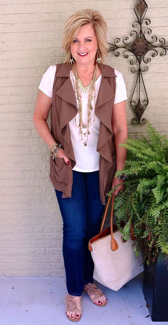 50 IS NOT OLD | VESTS ARE A GREAT FALL ADDITION | Transition outfit | Jeans and t-shirt | Fashion over 40 for the everyday woman