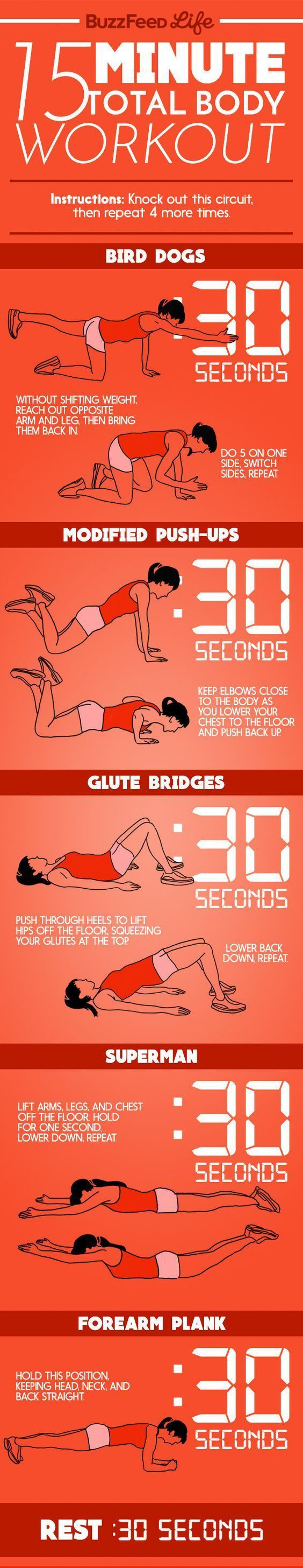 15 Minute Total Body Workout Source: Buzzfeed They say to exercise 30…