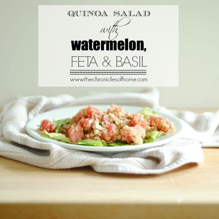 My favorite summer recipe! I could eat this every day. It's so easy and so delicious, not to mention nice and healthy! Quinoa Salad with Watermelon, Feta, and Basil