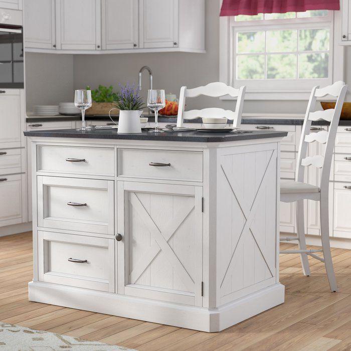 Lizotte Kitchen Island Set With Granite Top Kitchen Island With Seating Kitchen Design Kitchen Furniture