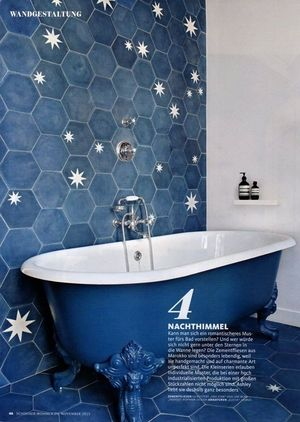 Popham Design handmade cement tiles and a bespoke clawfoot tub in Where I'd Stay's St Sulpice flat, as featured in Germany's Schøner Wohnen Magazine (October 2015)