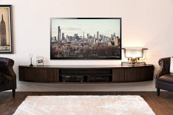 Curved Wall Mount Floating Entertainment Center Tv Stand Arc Etsy Wall Mount Entertainment Center Floating Entertainment Center Floating Tv Stand Curved tv stand with mount