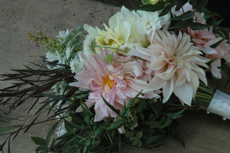 bridal bouquet featuring cafe au lait dahlias from Turnbull Creek farm