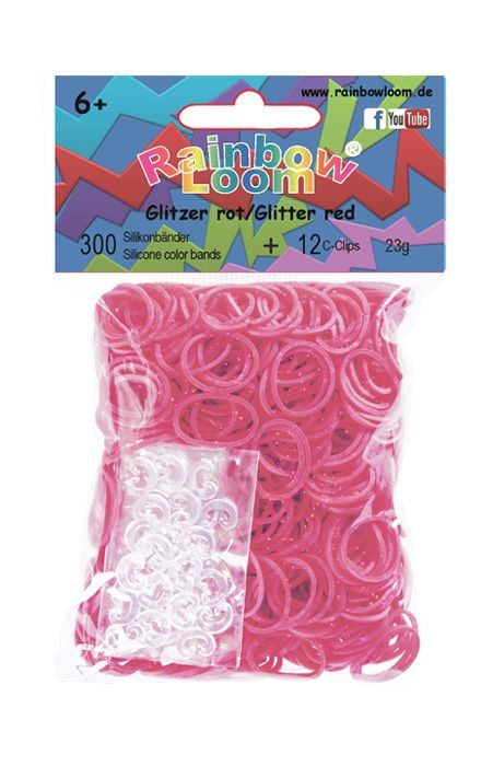 Rainbow Loom Glitter rood met 12 clipjes. Nieuwste rage, wees er snel bij! Maak met de clips en elastiekjes de mooiste armbandjes en accessoires. Dit zakje bevat maar liefst 300 glitter rode elastiekjes en 12 clips.  http://www.planethappy.nl/rainbow-loom-glitter-rood-met-12-clips.html