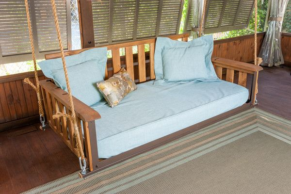 The Craftsman is our classic swing bed that lets you relax in comfort and style. Make your house guests jealous with this clean, contemporary look.  Our swing beds have an adjustable back so you can enjoy them as a bed or as a swing for more comfortable sitting. They are made to fit a 6' thick twin sized mattress (not included).  Our swing beds are made from wood with a steel frame which makes them not only lightweight but extremely durable. Our swing beds are to be installed under a…