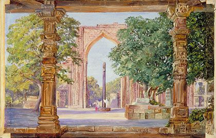 Image result for iron pillar of Old Delhi painting by Marianne North