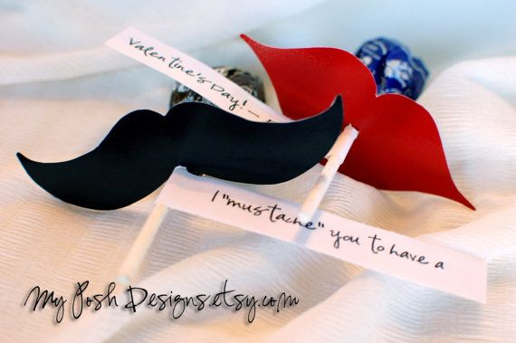 Mustache and lips lollipop