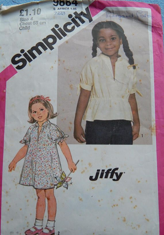 1980s Vintage sewing pattern Simplicity 9884 Girl's Dress