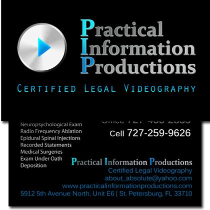 Professional Legal Videographer Business Cards
