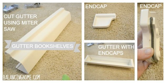 How to hang gutter bookshelves for a fun kid reading nook.