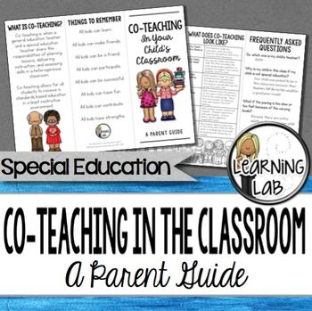 Special Education Co-Teaching (inclusion) can be confusing for parents that have never experienced it.  This trifold brochure is perfect for educating parents about what co-teaching is and how it will benefit their child.  Included on this brochure is:Definition of co-teachingBenefits of co-teachingModels of co-teachingFAQs about co-teachingThings to remember * * * If you are looking for the ESL version of this product, you can find that here.Are you a special education teacher that is…