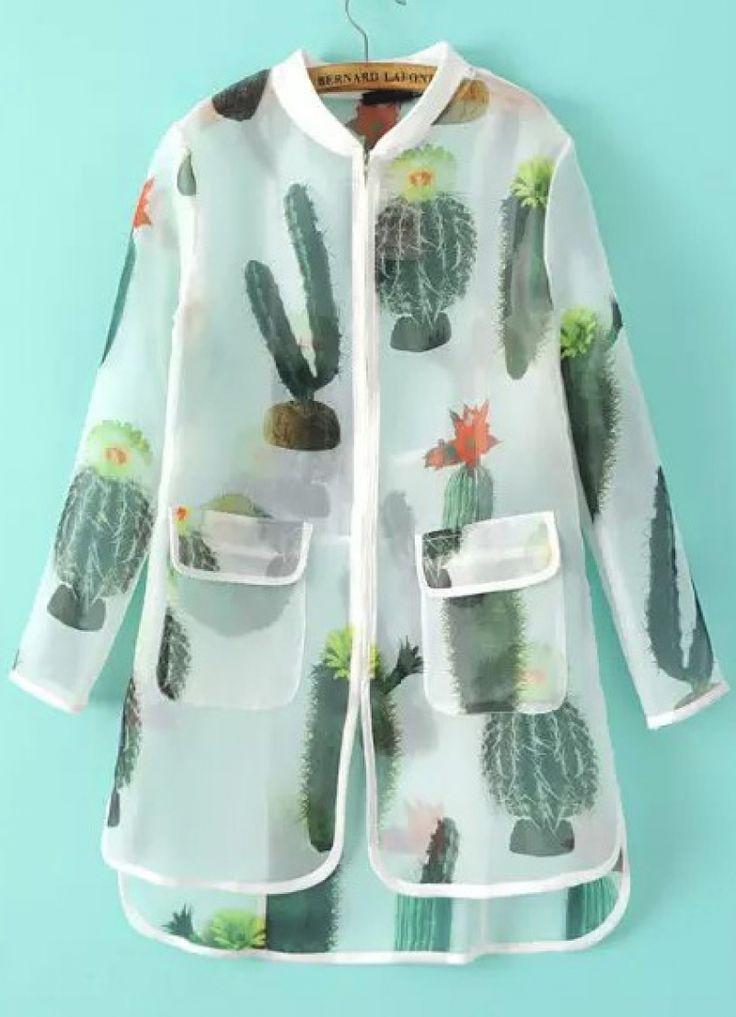 White Long Sleeve Cactus Print Sheer Outerwear