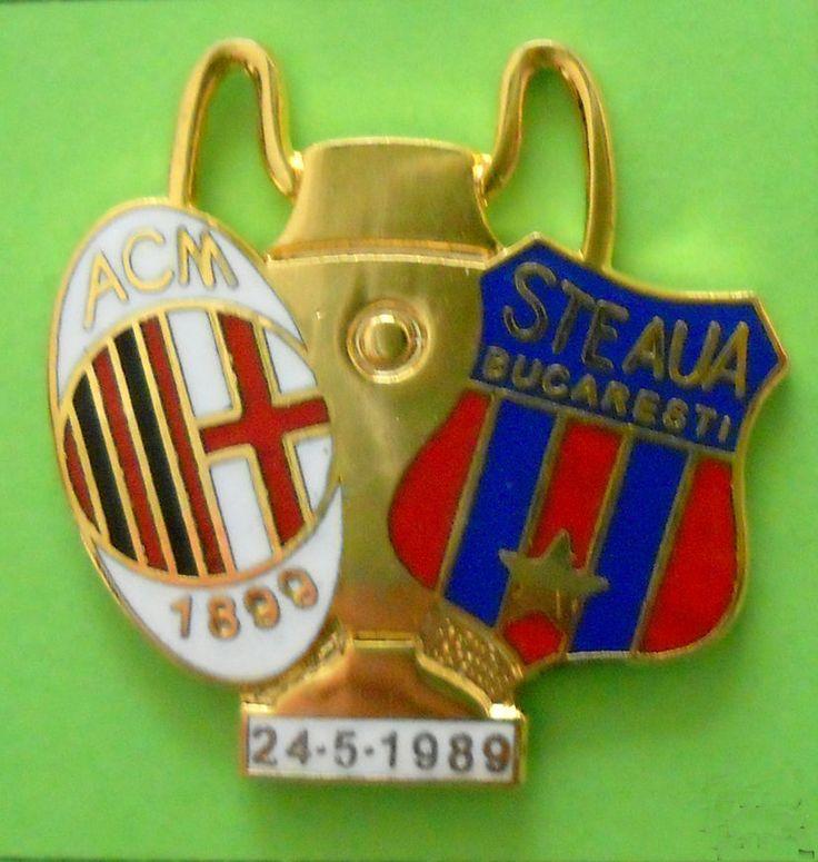 DISTINTIVO SPILLA PIN BADGE - MILAN-STEAUA B. - FINALE COPPA CAMPIONI 24-5-1989
