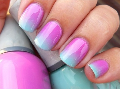 Get a small piece of sponge and put both a large streak of one nail color and a large streak of another nail color on it, side by side. Then press the sponge onto each nail and after nails have dried, go over with transparent gloss/varnish.