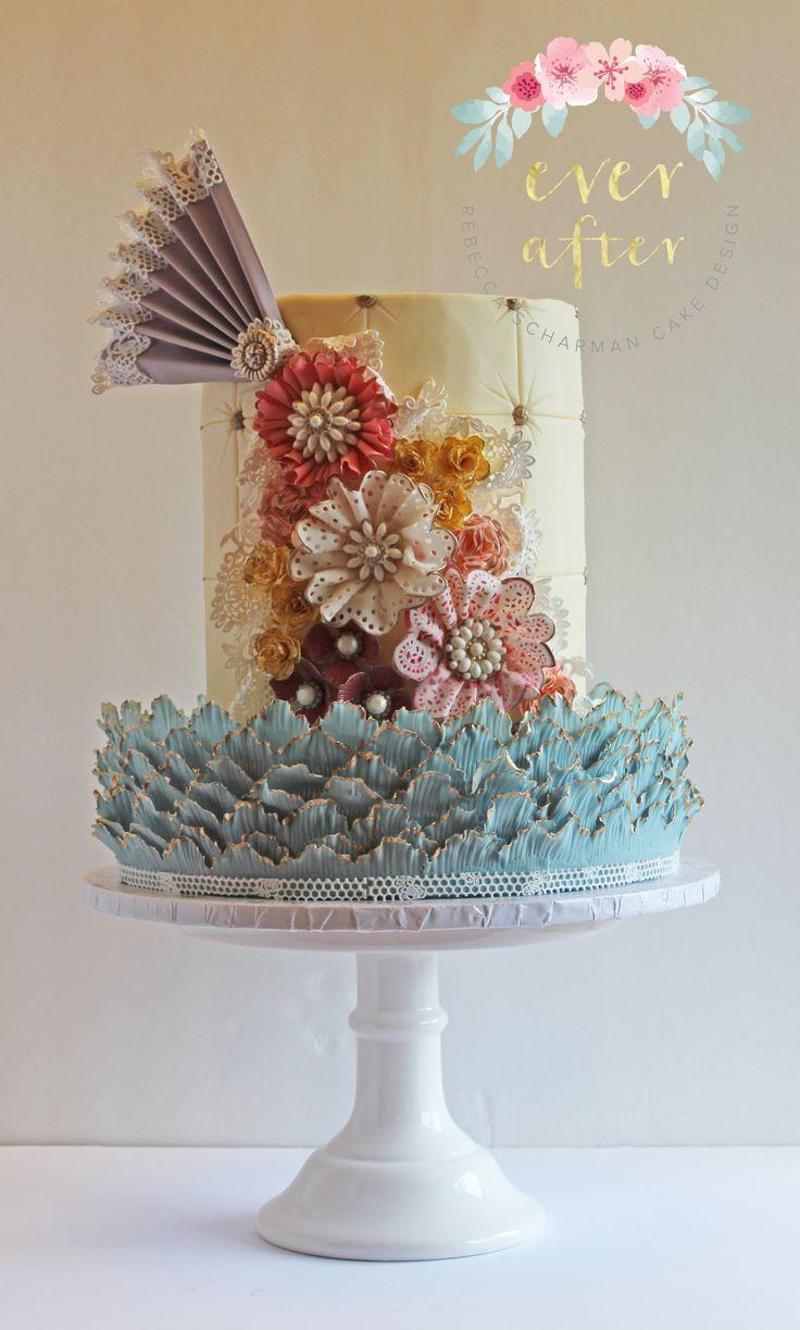 @everaftercake Shabby Chic Vintage Fabric Flower Cake.