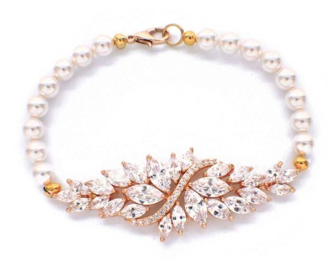 Brazalete de cristal de novia oro perla pulsera, regalo dama, pulsera de perla de Dama de honor, joyería de la perla de Dama de honor, joyas de cristal, cz