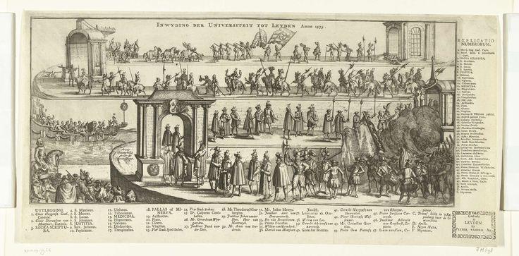 Anonymous | Optocht bij de inwijding van Universiteit van Leiden, 1575, Anonymous, Pieter van der Aa (I), 1779 - 1781 | Optocht bij de inwijding van Universiteit van Leiden, 8 februari 1575. Stoet in drie rijen boven elkaar afgebeeld. Rechtsonder soldaten, muzikanten, vaandeldragers en vreugdeschoten. Links lopen hoogwaardigheidsbekleders en professoren door een triomfpoort met het wapen van Leiden. Linksonder het schip met Neptunus, Apollo en de negen muzen. Elementen in de voorstelling…