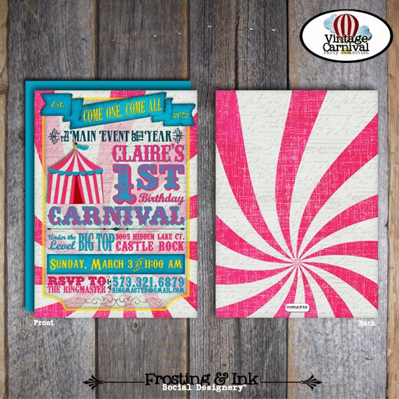25+ parasta ideaa Pinterestissä Carnival party invitations - circus party invitation