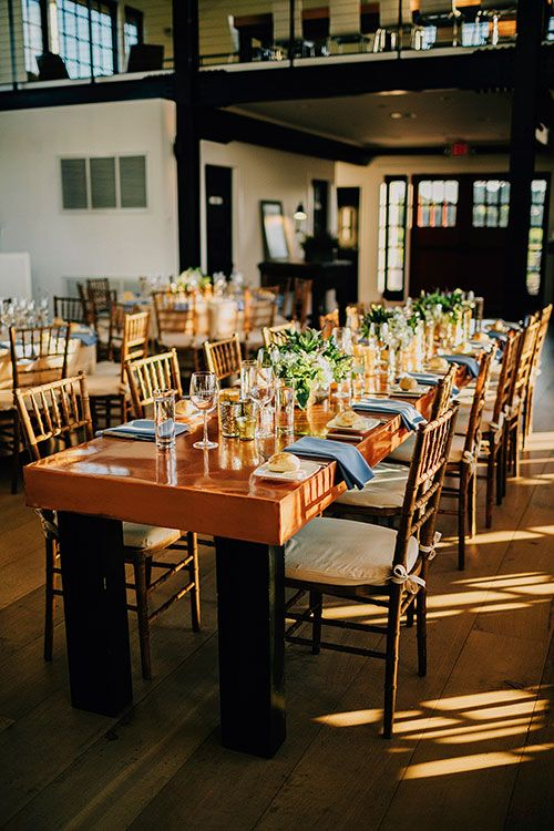 Intimate Coastal Wedding on Long Island, Long Copper Tables | Brides.com