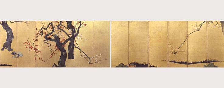 紅白梅図屏風 六曲一双/ attributed to Ogata Korin