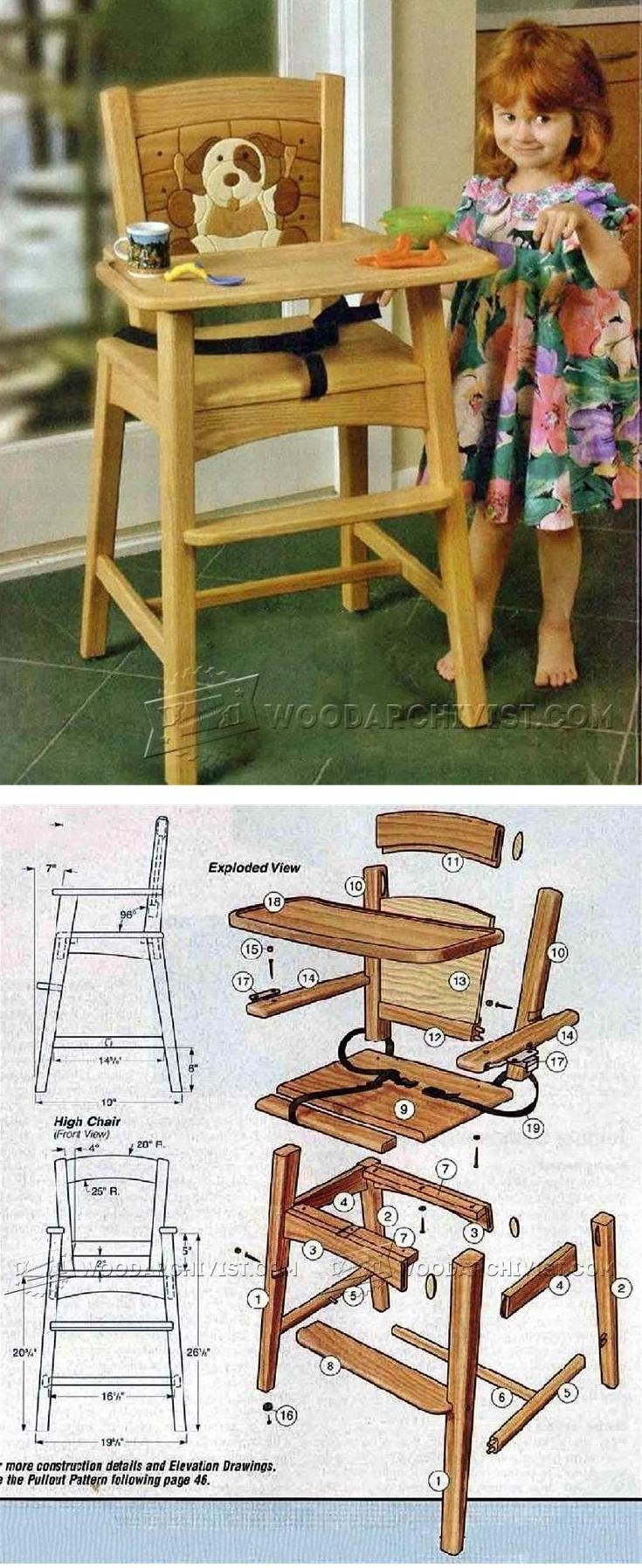 Painted wooden high chair - Wooden High Chair Plans Children S Furniture Plans And Projects Woodarchivist Com