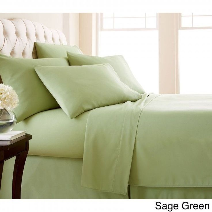 Queen 6-piece Sheet Set Extra Deep Pocket Flat Fitted Sheets Pillow Case Green #Southshore #Contemporary