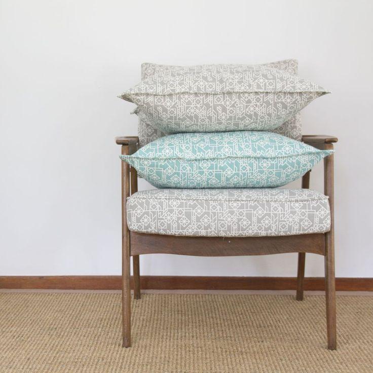 Elle Kay Fabrics Kite Cushion Covers comes in two colours, Titanium and Aqua