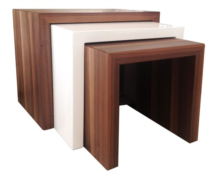 Contemporary Nesting Tables, Available In All White Or A Combination Of  White, Wenge And Walnut