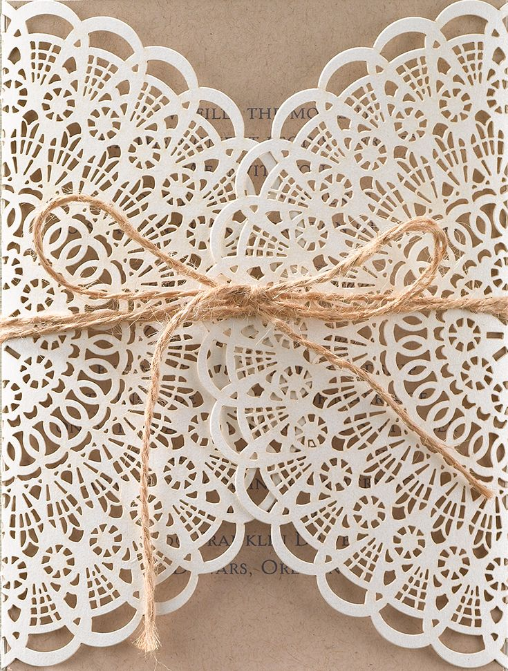 Laser cut lace wrap wedding invitation; such beautiful detail! Ideal for a vintage or boho themed wedding. From Invitations by Dawn.
