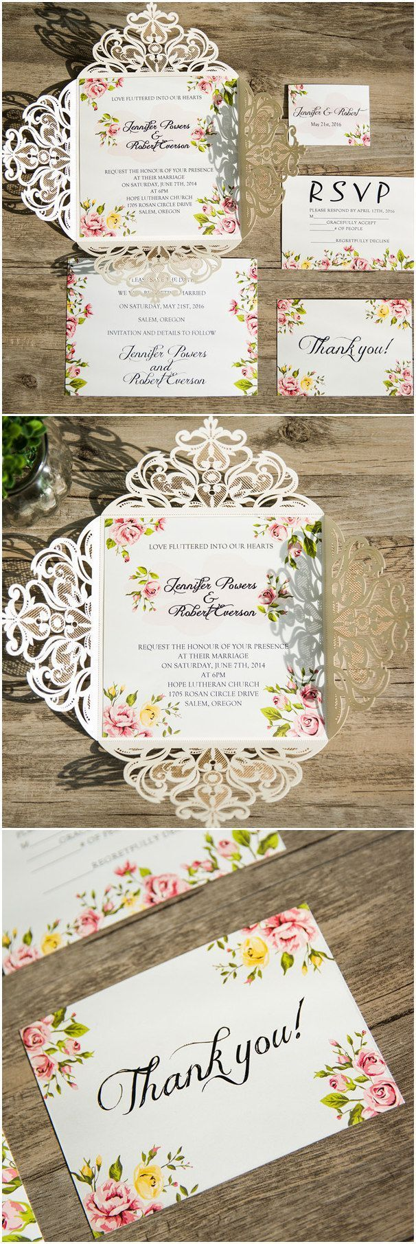 romantic floral prints laser cut wedding invitations