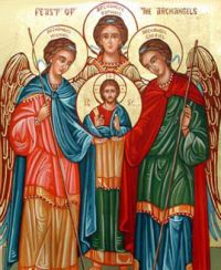 Happy Feast of the Archangels St. Michael, St. Gabriel, & St. Raphael Sept. 29.  St. Michael, St. Gabriel, & St. Raphael  ARCHANGELS  Feast: September 29    Information:  Feast Day: September 29    September 29, 2012  (Readings on USCCB website)    Collect: O God, who dispose in marvelous order ministries both angelic and human, graciously grant that our life on earth may be defended by those who watch over us as they minister perpetually to you in heaven. Through our Lord Jesus Christ, your