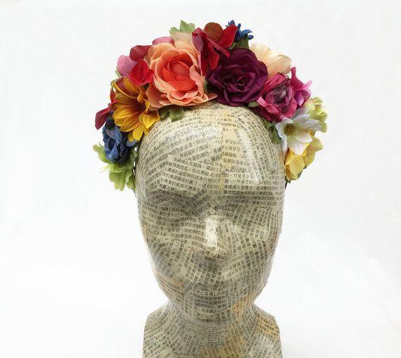 Spring Garden Flower Crown - Frida Kahlo Headpiece, Floral Headband, Rainbow, Floral Crown, Mexican Wedding, Flower Headband, Spanish, Boho