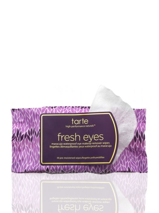 fresh eyes maracuja waterproof eye makeup remover wipes.  Effective and does not sting/irritate sensitive skin,  even my eye area.  Soothing actually.