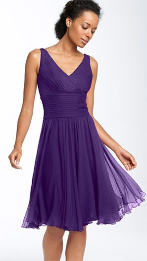 Flowy purple bridesmaid dress with v-neck. Live both the cut & color!!