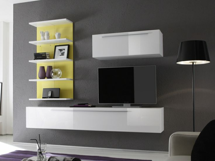 jolly wohnwand g anbauwand weiss hochglanz echt lackiert weiss gelb wohnzimmer pinterest. Black Bedroom Furniture Sets. Home Design Ideas