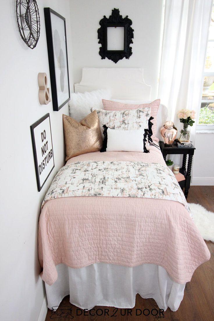 Blush Rose Gold Marble Dorm Bedding Set Dorm Room Color Schemes