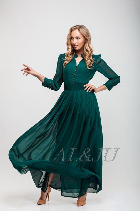 Oscuro vestido verde piso de longitud vestido gasa vestido de noche largo plisado vestido de Dama de honor vestido V cuello de manga larga vestido formal color esmeralda
