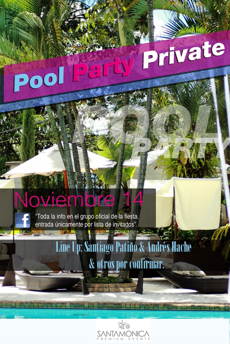 Pool Party Private, flyer para evento privado de rumba electrónica. (aprobado).