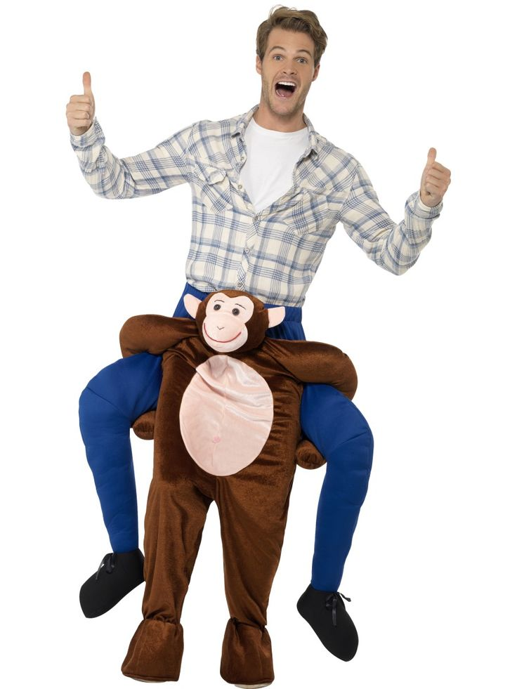 Apinan reppuselässä. Apina jaksaa kantaa selässää standardikokoisen hulluttelijan. Naamiaisasu sopii sekä miehille että naisille.