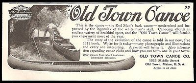 Canoe 1911 Ad Photo Two Canoes Maine Old Town Canoe